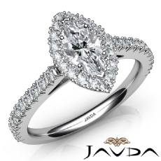 French Cut Pave Set Halo Marquise diamond engagement Ring in 14k Gold White