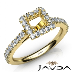 French Cut Pave Set Diamond Engagement Princess Semi Mount Ring 18k Gold Yellow  (1Ct. tw.)