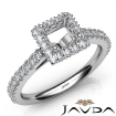 French Cut Pave Set Diamond Engagement Princess Semi Mount Ring 14k White Gold 1Ct - javda.com