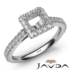 French Cut Pave Set Diamond Engagement Princess Semi Mount Ring 14K W Gold 1Ct