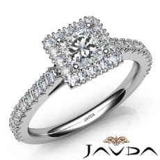 Halo French V Pave Setting Princess diamond engagement Ring in 14k Gold White