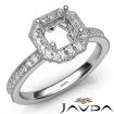 Halo Pave Set Diamond Engagement 14k White Gold Asscher Semi Mount Ring 0.5Ct - javda.com