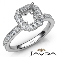 Halo Pave Set Diamond Engagement 14K White Gold Asscher Semi Mount Ring 0.50Ct