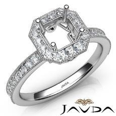 Halo Pave Set Diamond Engagement 14K White Gold Asscher Semi Mount Ring 0.50Ct