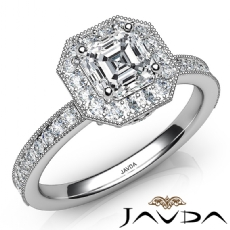 Milgrain Set Bezel Halo Asscher diamond engagement Ring in 14k Gold White