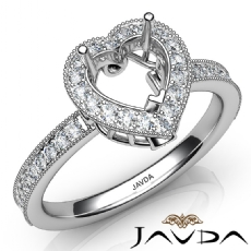 Halo Pave Set Diamond Engagement 14K White Gold Heart Semi Mount Ring 0.50Ct