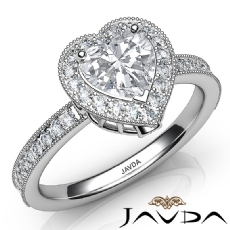 Milgrain Halo Bezel Setting Heart diamond engagement Ring in 14k Gold White