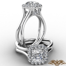 French U Cut Pave Crown halo Asscher diamond  Ring in 14k Gold White