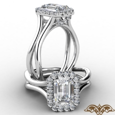 French U Cut Pave Crown halo diamond Ring 14k Gold White