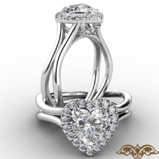 French U Cut Pave Crown halo Heart diamond  Ring in 14k Gold White