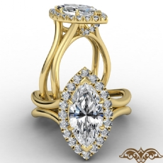 French U Cut Pave Crown halo Marquise diamond  Ring in 14k Gold Yellow