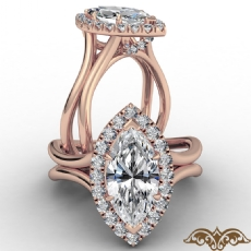 French U Cut Pave Crown halo Marquise diamond  Ring in 18k Rose Gold