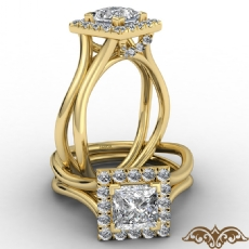 French U Cut Pave Crown halo Princess diamond  Ring in 18k Gold Yellow
