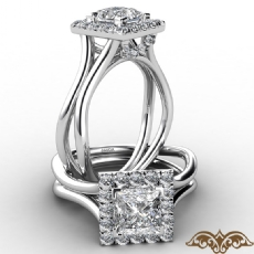 French U Cut Pave Crown halo Princess diamond  Ring in 14k Gold White