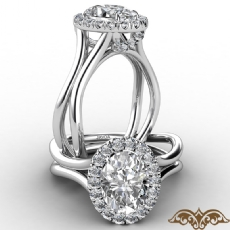 French U Cut Pave Crown halo Oval diamond  Ring in 14k Gold White