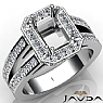 1.53Ct Diamond Engagement Ring Emerald Semi Mount Halo Setting 14k White Gold