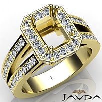 Diamond Engagement Ring Emerald Semi Mount Halo Setting 14k Gold Yellow (1.53Ct. tw.)