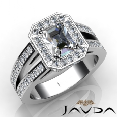 Double Prong Halo Sidestone Emerald diamond engagement Ring in 14k Gold White