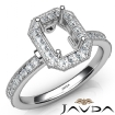 Halo Pave Set Diamond Engagement 14k White Gold Emerald Semi Mount Ring 0.5Ct - javda.com