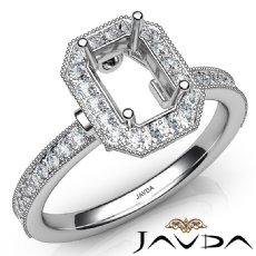 Halo Pave Set Diamond Engagement 14K White Gold Emerald Semi Mount Ring 0.50Ct