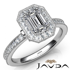Milgrain Set Halo Pave Emerald diamond engagement Ring in 14k Gold White