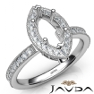 Halo Pave Set Diamond Engagement 14k White Gold Marquise Semi Mount Ring 0.5Ct - javda.com