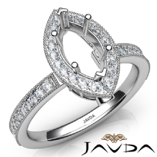 Halo Pave Set Diamond Engagement 14K White Gold Marquise Semi Mount Ring 0.50Ct