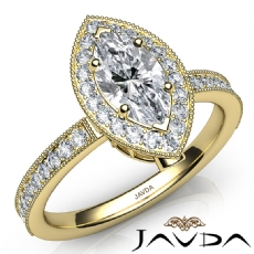 Milgrain Halo Bezel Accent Marquise diamond  Ring in 14k Gold Yellow