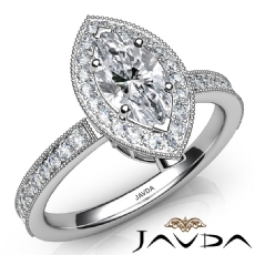 Milgrain Halo Pave Set Marquise diamond engagement Ring in 14k Gold White