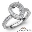 Halo Pave Set Diamond Engagement 14k White Gold Pear Semi Mount Ring 0.5Ct - javda.com