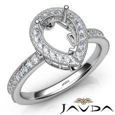 Halo Pave Set Diamond Engagement 14K White Gold Pear Semi Mount Ring 0.50Ct