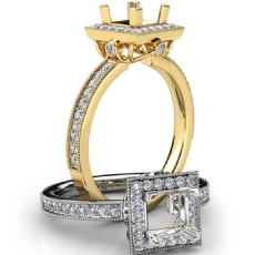 Halo Pave Set Diamond Engagement 14k Gold Yellow Princess Semi Mount Ring  (0.5Ct. tw.)