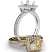Halo Pave Set Diamond Engagement 14k White Gold Princess Semi Mount Ring 0.5Ct - javda.com