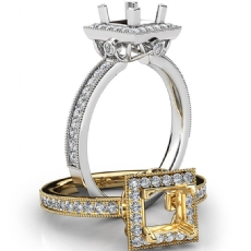 Halo Pave Set Diamond Engagement 18k Gold White Princess Semi Mount Ring  (0.5Ct. tw.)