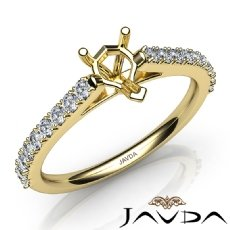 Double Prong Set Diamond Engagement Heart Semi Mount Ring 18k Gold Yellow  (0.3Ct. tw.)