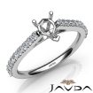 Double Prong Set Diamond Engagement Heart Semi Mount Ring 14k White Gold 0.3Ct - javda.com