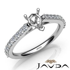 Double Prong Set Diamond Engagement Heart Semi Mount Ring 14K White Gold 0.30Ct