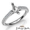 Double Prong Set Diamond Engagement Marquise Semi Mount Ring 14k White Gold 0.3Ct - javda.com