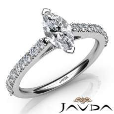Prong Set Classic Side-Stone Marquise diamond engagement Ring in 14k Gold White