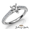 Double Prong Set Diamond Engagement Pear Semi Mount Ring 14k White Gold 0.3Ct - javda.com
