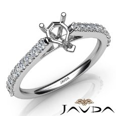 Double Prong Set Diamond Engagement Pear Semi Mount Ring 14K White Gold 0.30Ct