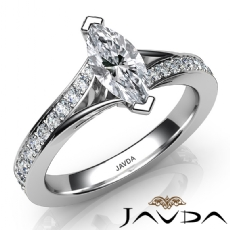 Pave Set Classic Sidestone Marquise diamond engagement Ring in 14k Gold White