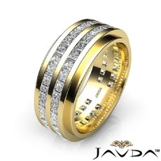 Channel Set Princess Diamond Men's Eternity Wedding Band 14k Gold Yellow  (4Ct. tw.)