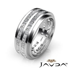 Channel Set Princess Diamond Men's Eternity Wedding Band 14k White Gold 4 Ct.