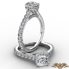 Cathedral Hidden Halo U Pave Asscher diamond  Ring in 14k Gold White