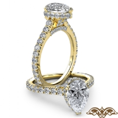 Cathedral Hidden Halo U Pave Pear diamond  Ring in 18k Gold Yellow