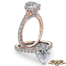 Cathedral Hidden Halo U Pave Pear diamond  Ring in 18k Rose Gold