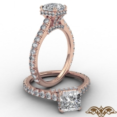 Cathedral Hidden Halo U Pave Princess diamond  Ring in 14k Rose Gold