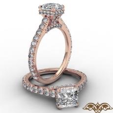 Cathedral Hidden Halo U Pave diamond Ring 14k Rose Gold
