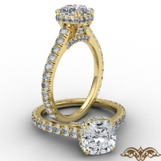 Cathedral Hidden Halo U Pave Cushion diamond  Ring in 14k Gold Yellow